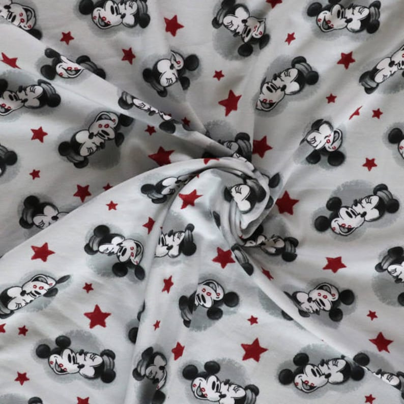 858e74f19ed Fabric Jersey fabric Mickey mouse print knit Light grey | Etsy