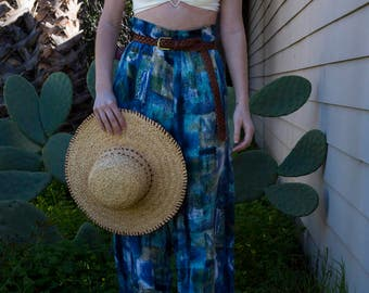 100% Silk Blue, Green, and Teal Abstract Elastic-Waist High Waisted Trouser Pants with Pockets
