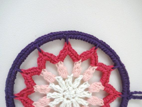 Roze En Paarse Ombre 6 Inch Haak Mandala Dreamcatcher Lace Etsy