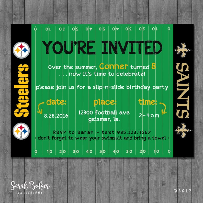Football Themed Birthday Party Invitation Sports Field Superbowl