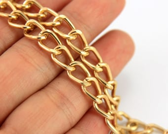1m Gold Curb Chain, (7mm x 5mm) Gold Plated Chain, Gold Chain, Chain for Jewelry Making, Bulk Chain, 24k Gold Plated Chain, Gold Chain
