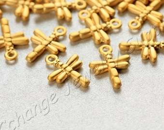 10 pcs Gold Dragonfly Charms, (15mm x 11mm) Gold Dragonfly Charms, 24k Matte Gold Plated Dragonfly Charms, Metal Gold Charms / GPY-175