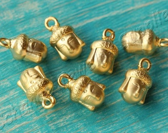 5 pcs Gold Buddha Beads, (14mm x 8mm) Gold Buddha Head Charms, 24k Matte Gold Plated Buddha, Metal Gold Buddha Beads, Buddha Charm / GPY-413