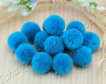 Pom Poms, 10 pcs Blue Sapphire Yarn Pom Pom, 15mm Pom Pom Trim, Wholesale Cotton Pom Pom, Ball Pom Pom, DIY Pompom, Jewelry Pompoms / CPS-35