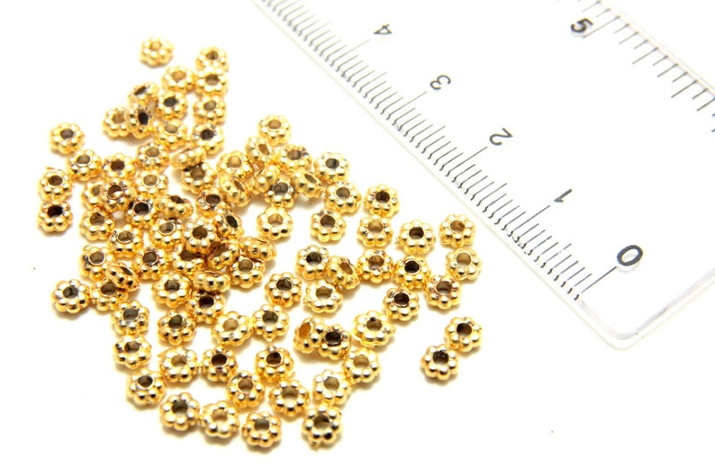 1000Pcs Gold Plated Daisy Spacer Beads Jewellery Craft Bead Findings 4mm /& 6mm