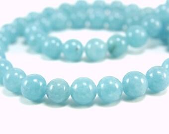 8mm Aquamarine Beads, 1 strand (47pcs) Quartz Gemstone Beads, Jade Loose Bead, Blue Quartz Loose Bead, Gemstone Round Bead, Jade Stone Bead