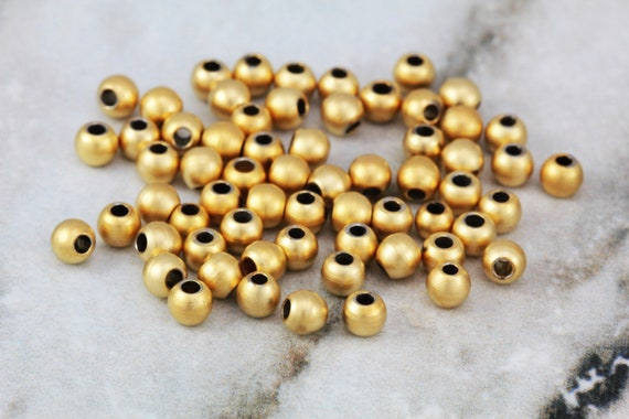 1mm Metal Seed Beads 25 x Brass Spacer Beads Round Rose Gold 4mm Hole