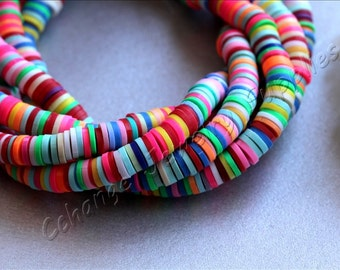 Rainbow Disc Beads, (6mm) Fimo Disc Beads, 1 Strand Colorful Fimo Beads, Fimo Disc Beads, Polymer Clay Disc Beads, Fimo Beads / FD-00