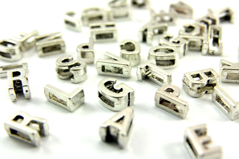 Alphabet Beads 50 pcs Alphabet Letters Metal Flat Alphabet | Etsy