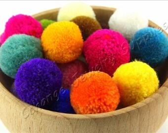 Pom Poms, 50 pcs Mix Color Yarn Pom Pom, 15mm Pom Pom Trim, Wholasele Pom Pom, Ball Pom Pom, Pom Pom Supplies, Earring Jewelry Pom Poms
