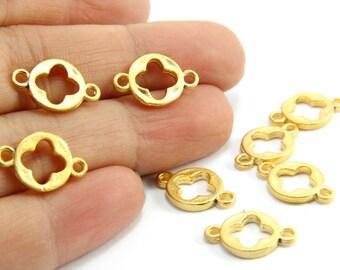 5 pcs Gold Clover Charms, (15mm x 10mm) Gold Clover Charms, 24k Matte Gold Plated Charms, Brass Gold Clover Charm / GPS-077
