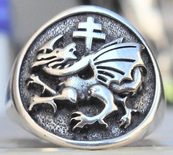 2 VLAD DRACULA ORDER OF THE DRAGON earrings silver
