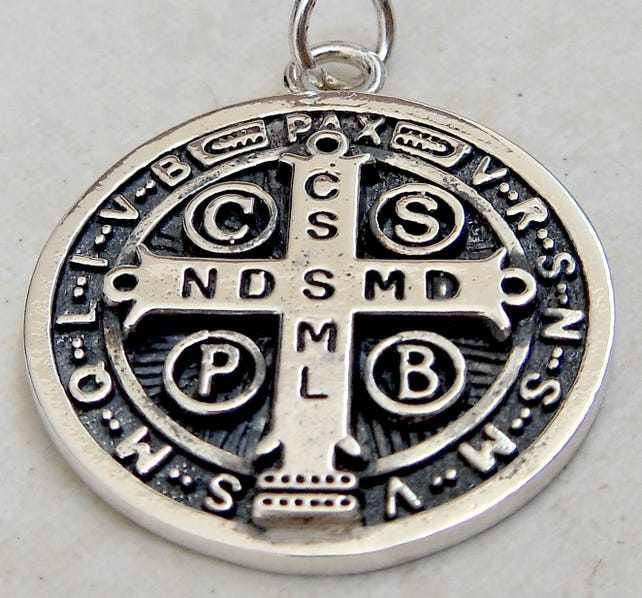 St Benedict Exorcism Cross Demon Protection Ghost Hunter Etsy