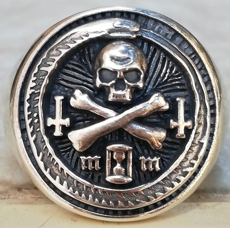Memento Mori Ouroboros And Skull Handmade 3D Ring Solid image 0