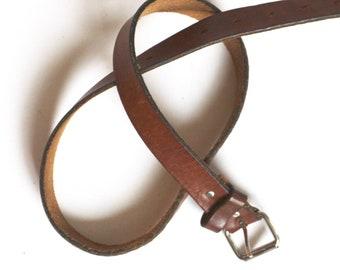 0de40d93e5a2 brown leather waist belt    vintage high waisted belt    simple brown and  silver belt