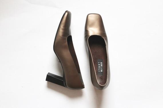 gold stuart weitzman pumps // vintage square toe … - image 2