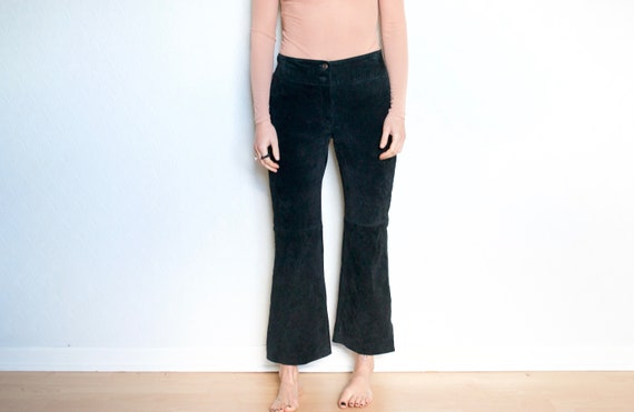black flare suede pants // vintage leather pants /
