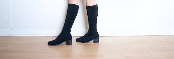black sock boots // vintage square toe block heel