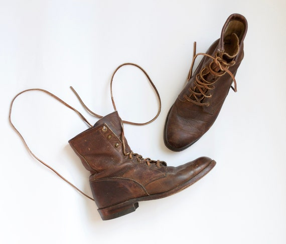 brown justin boots // vintage leather lace up boot