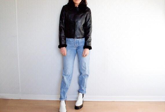 faux fur trim leather jacket // vintage black leat