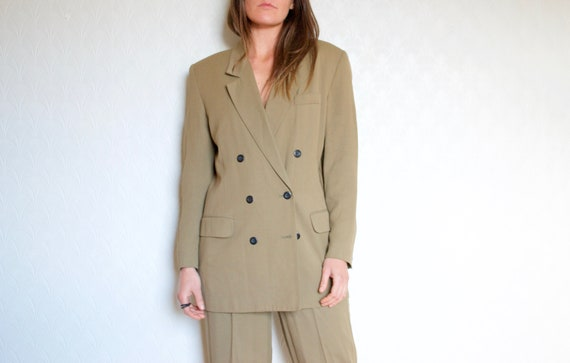 double breasted suit // vintage olive green suit /