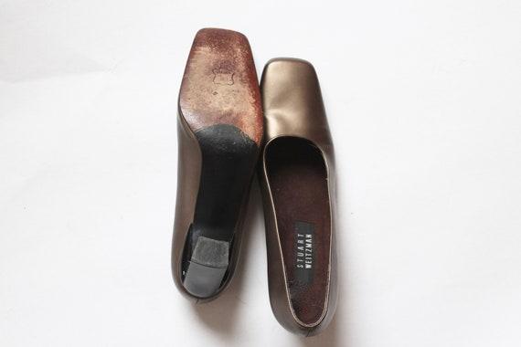 gold stuart weitzman pumps // vintage square toe … - image 8