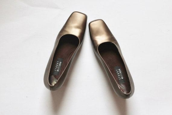 gold stuart weitzman pumps // vintage square toe … - image 4