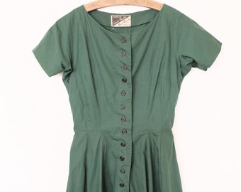 RARE 1950s Vintage Anne Fogarty for Lord & Taylor Dress Button Down Hunter Green