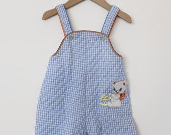 Blue Gingham Quilted Overalls - 18 months
