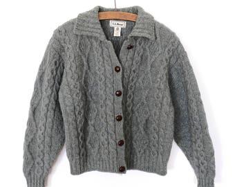 Beautiful L.L. Bean Sage Blue Green Wool Cardigan Sweater - Womens Medium