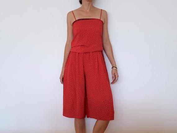 Vintage Red Silk 'Pierre Manteau' Two Piece Jumper
