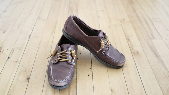 Brown 1980s Vintage Lace Up Boat Shoes Size 41