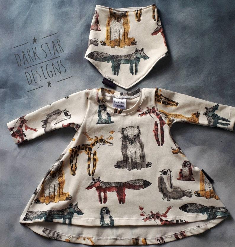 Baby gift set dress and bib set 0-3 months animal print image 0