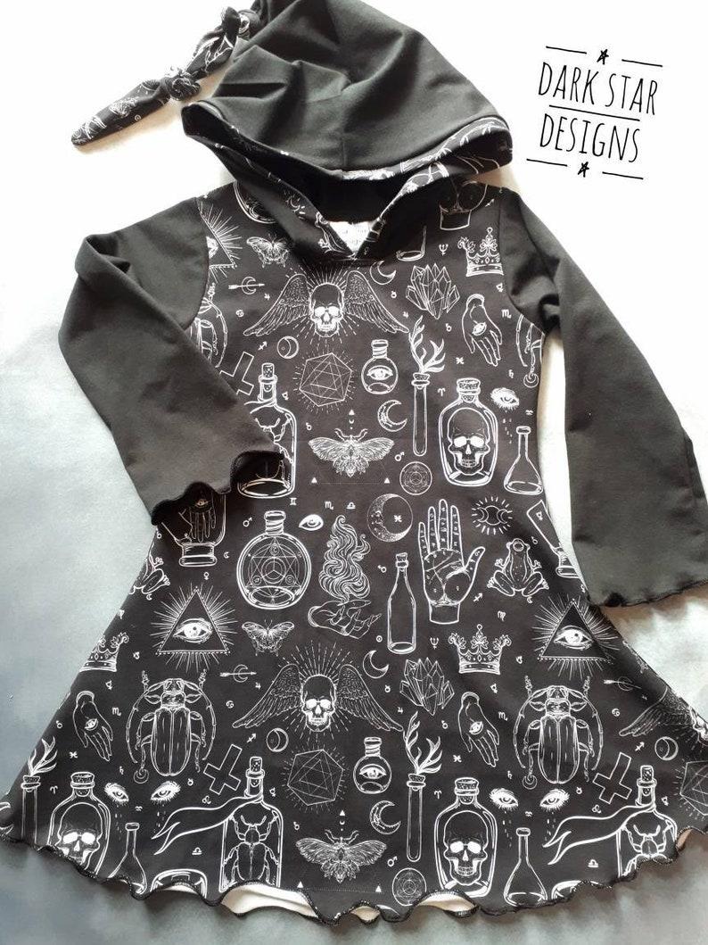 Magical kids dress toddler tween long sleeved hooded image 0