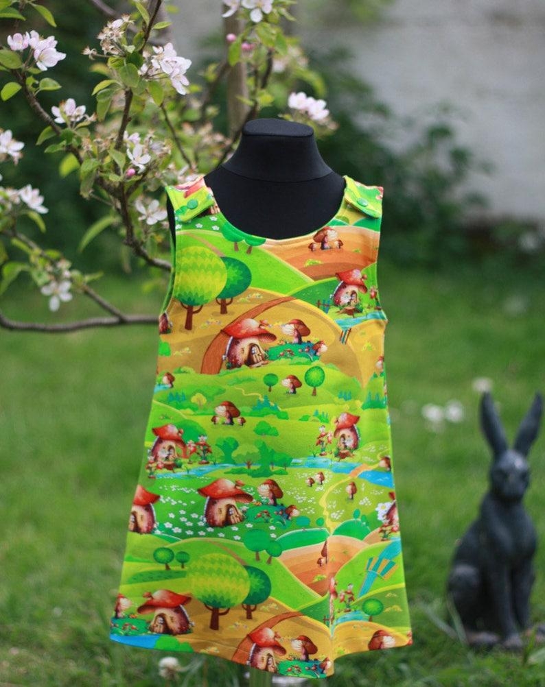Girl's pinafore dress Soft jersey Fairy Toadstool Dress image 0