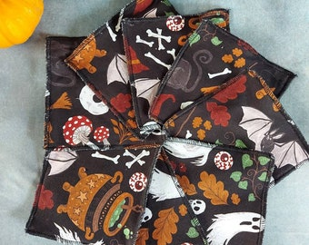 Reusable cloth wipes. Halloween spooky goth wipes
