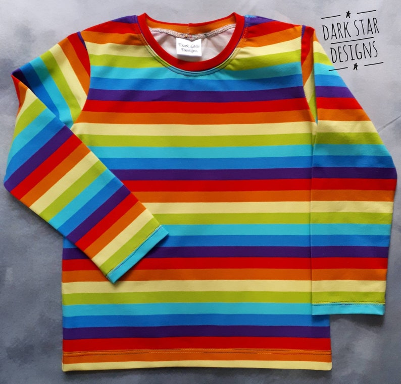 Organic rainbow t-shirt with long sleeves. Unisex t-shirt image 0