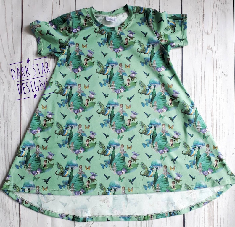 Girls Party Dress Fairys dragons   toadstools dress hi low image 0