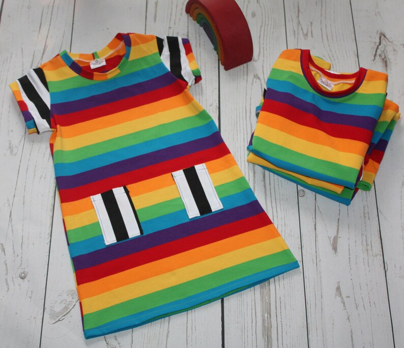 Girls Dress Striped dress Party Dress Rainbow Dress A image 0