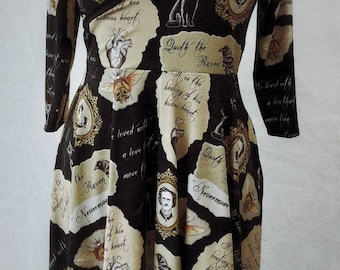 Wrap dress in organic gothic Nevermore print