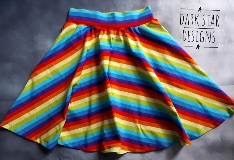 Women's rainbow striped circle skirt knee length organic image 0