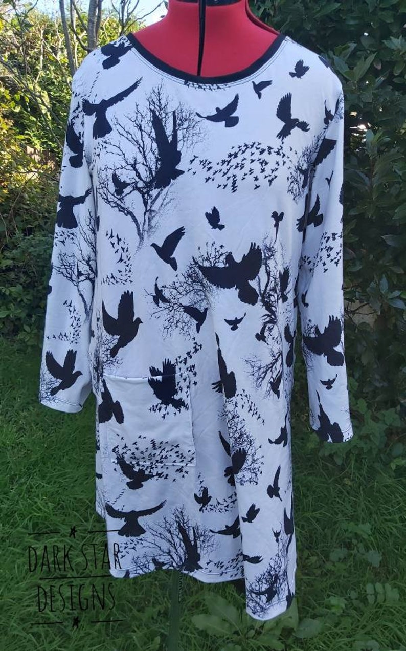 Monochrome dress scandi tunic black and white tunic  8-10UK image 0