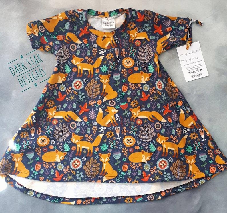 Girl Woodland fox dress organic kids dress image 0
