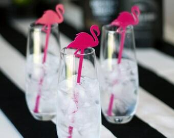 flamingo : swizzle sticks, drink stirrers, party decor [set of 6]