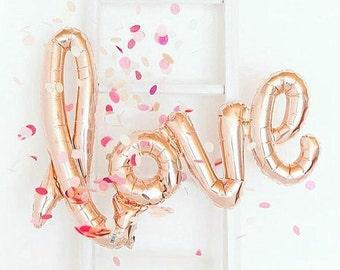 "love script balloon : rose gold 40"" foil mylar"