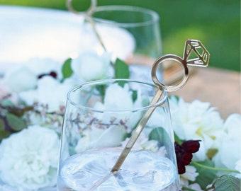 diamond engagement ring : swizzle sticks, drink stirrers, bridal party decor [set of 6]