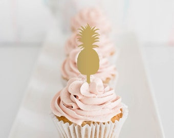 pineapple : cupcake toppers [set of 6]