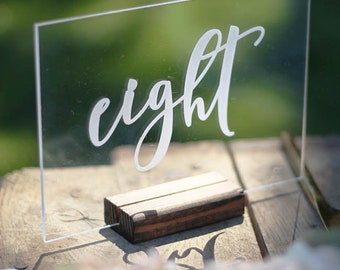 free standing acrylic table numbers, etched : wedding decor