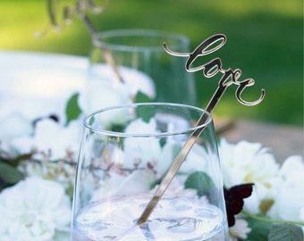 love : swizzle sticks, drink stirrers, party decor [set of 6]