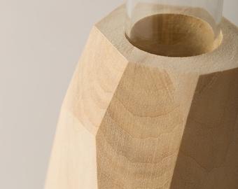 Flower Vase – Geometric Faceted Wood Decor – Organic Natural Houseware
